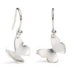 Silver Butterfly Drop Earrings Small
