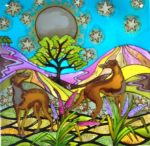 Hand Painted Glass Panel 'Full Moon and Whippets'