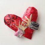 Papier-Mâché Love Heart Brooch
