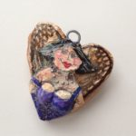 Papier-Mâché Fairy Heart Brooch
