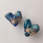 Papier-Mâché Love Heart Studs