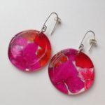 Acrylic Earrings Pink Discs