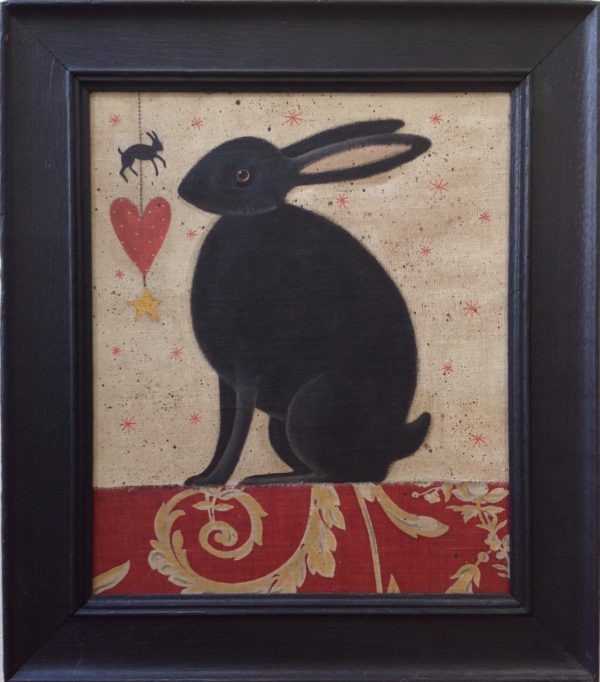 Original Acrylic Rabbit and Heart