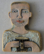 Ceramic Relief  Man with Coffee
