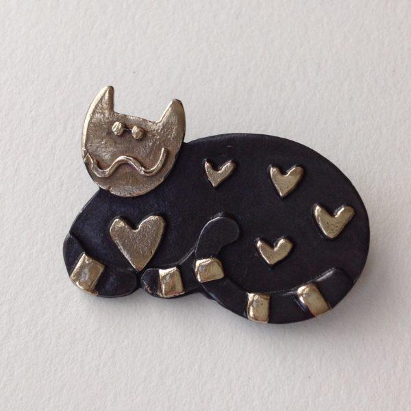 Brass & Bronze Brooch Sitting Cat