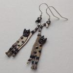 Brass & Bronze Earrings Happy Cat