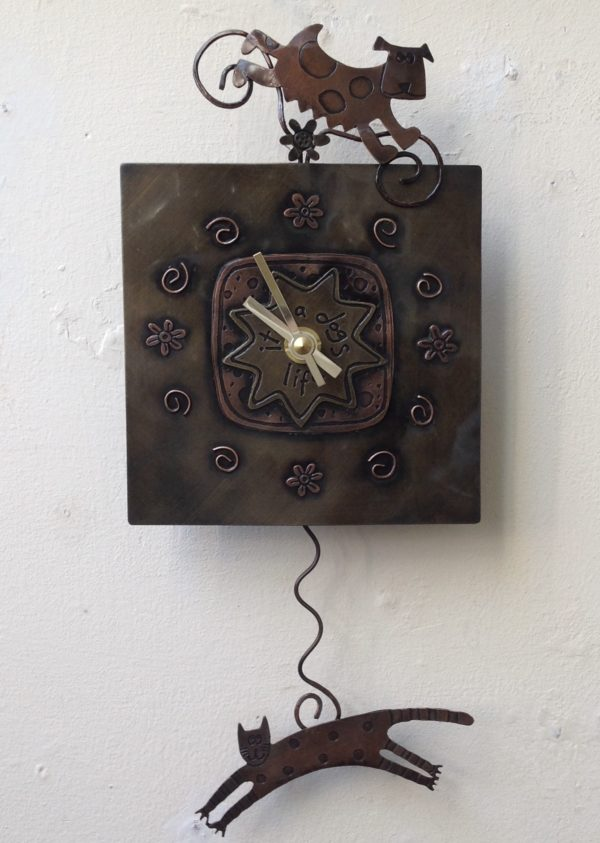 Clock Dog and Cat