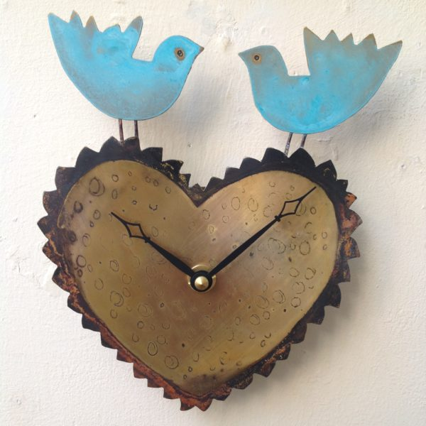 Clock Bluebirds on Heart