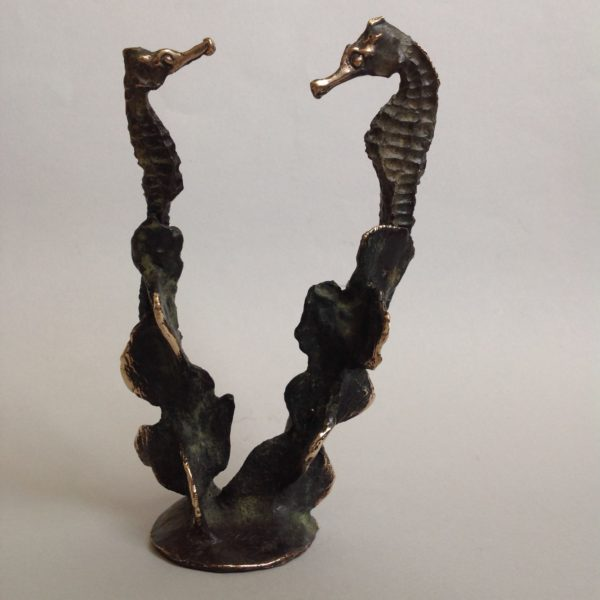 Bronze Double Seahorse with patination