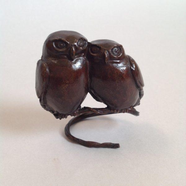 Bronze Twin Owls Perching
