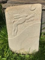 Hand Carved Sculpture Hare and Moon