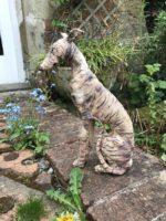 Stoneware Sitting Whippet Sculpture