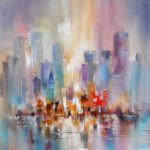 Oil & Acrylic Abstract City