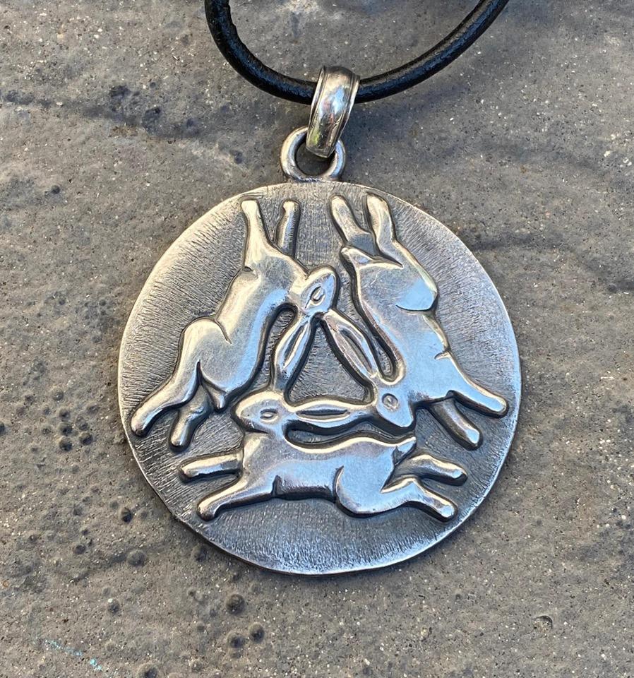 Silver Triple Hare Pendant