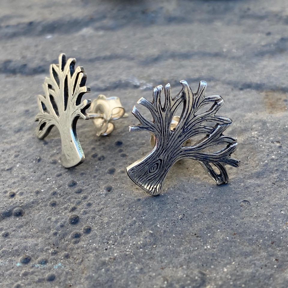 Silver Tree Stud Earrings
