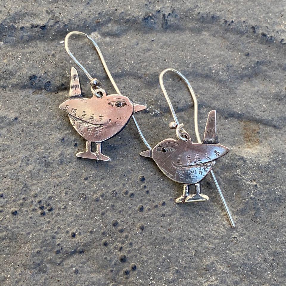 Silver Wren Drop Earrings