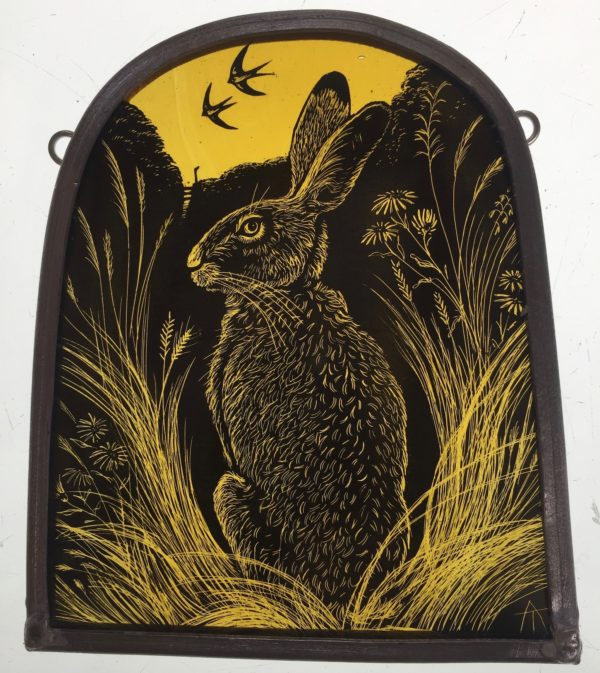 Stained Glass Panel 'Summer Hare and Swallows'