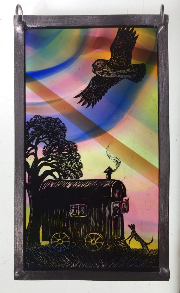 Stained Glass Panel 'Settling Down'