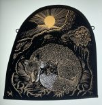 'Fox and Cubs' Stained Glass Panel