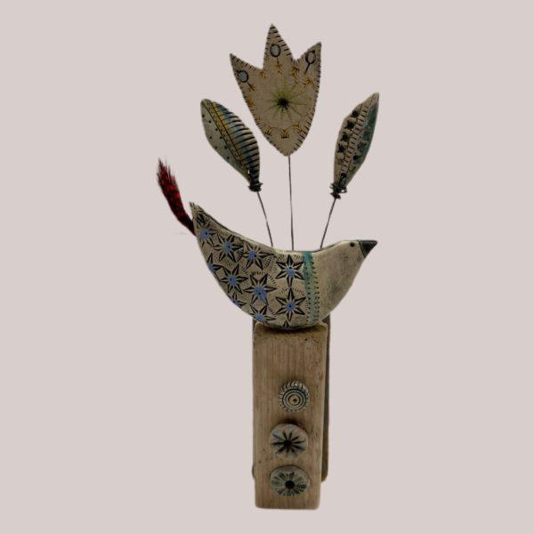 'Happy Bird' Ceramic & Driftwood