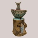 'Cat in a Boat' Ceramic & Driftwood