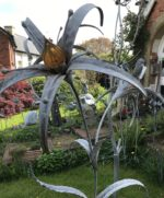 Wildflower Sculpture with Amber Glass