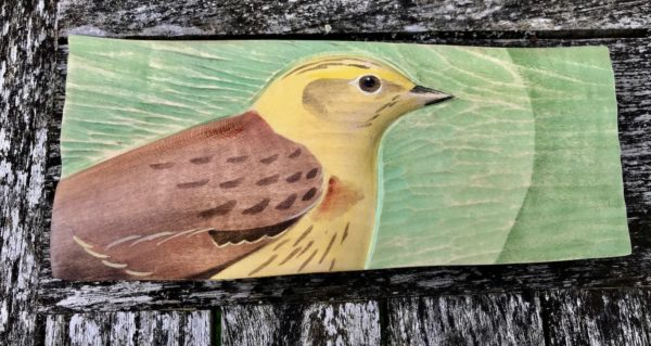Relief Wood Carving Yellow Hammer