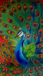 Hand Painted Glass Panel 'Peacock'