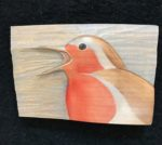 'Relief Wood Carving Robin Singing
