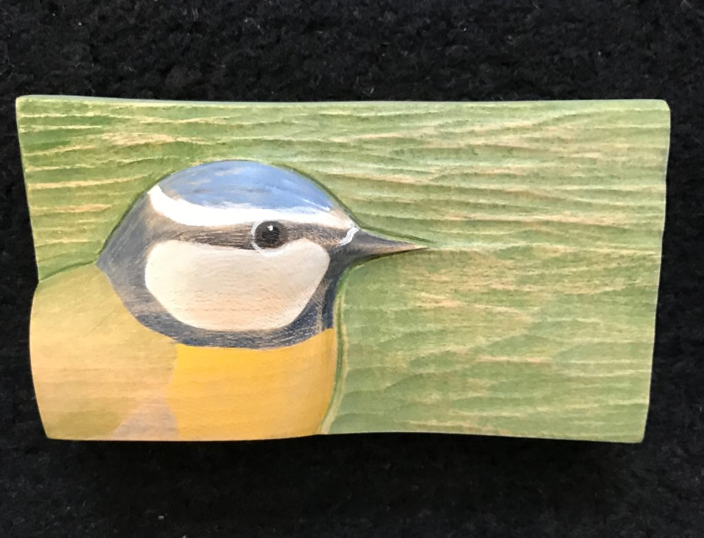 'Relief Wood Carving Blue Tit