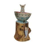 'Cat in a Boat' Ceramic & Driftwood