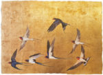 "Premium Print ""Golden Flight of Swallows"""