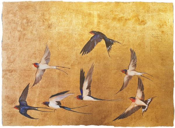 "Premium Print ""Golden Flight of Swallows"""