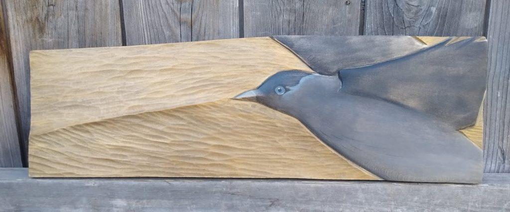Relief Wood Carving Jackdaw - Flight