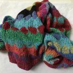 Sliding Circles Bright silk scarf
