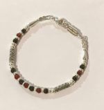 Carnelian and Onyx Silver Bracelet
