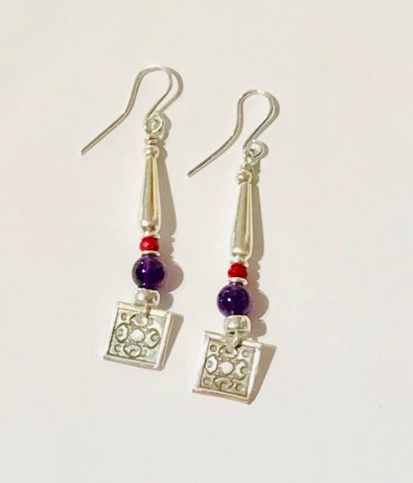 Amethyst and Quartz Earrings