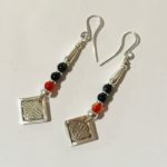 Onyx and Carnelian Earrings