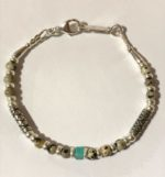 Dalmation Jasper & Turquoise Silver Bracelet