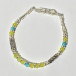 Serpentine and Turquoise Silver Bracelet
