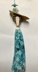 Driftwood Sculpture Lady in Blue