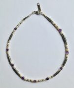 Silver Necklace with Pearls & Amethyst