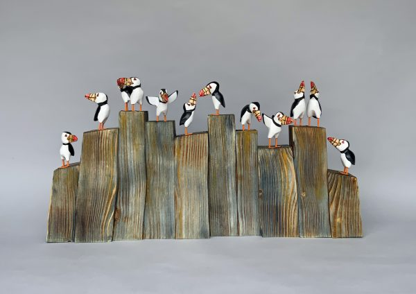 'Puffin Chatter' Carved Wood
