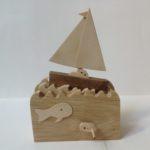 Sail Boat at Sea Wooden Automata