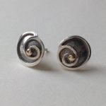 Silver Stud Spiral Earrings