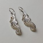 Silver Seahorse Drop Earrings
