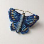 Papier-Mâché Blue Butterfly Brooch