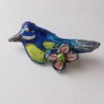 Papier-Mâché Bird Brooch
