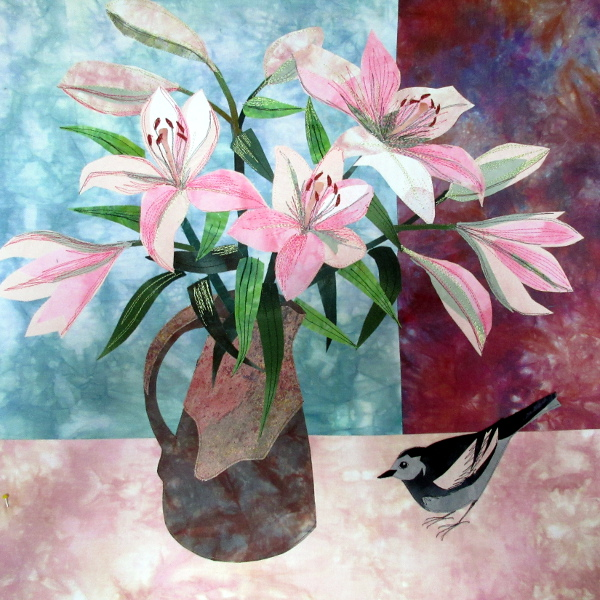 Lilies and Wagtail Textile Collage