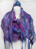 'Nuno Felted Shawl  Wrapped in Lilac